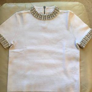 Alice + Olivia embellished crop sweater white L